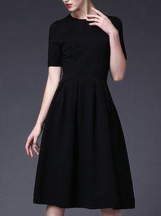 Black Shirred Vintage A-line Crew Neck Midi Dress
