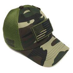 Military Army Green Camo Vintage Cotton Cap USA Flag Patch Trucker Mesh  Baseball Hat e2fbefa5c14a