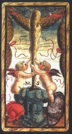 Sola-Busca Tarot (Italy 1491) - Ace of Wands.....faithful reprinted by Wolfgang Mayer (Germany 1998)
