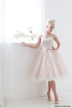 house of mooshki spring 2015 poppy blush pink tea length illusion cap sleeves short wedding dress
