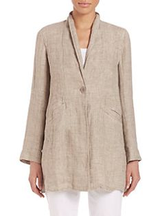 Eileen Fisher - Double-Weave Organic Linen Stand-Collar Coat