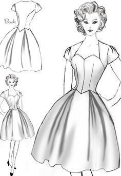 Vintage inspired drop waist dress design by Ambre Middaugh #Retro #1950 #Vintage #Rockibilly