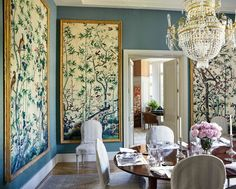I was sure that I had written about affordable Chinoiserie wallpaper panels, murals before. So, here are the latest findings. Framed Wallpaper, Chinoiserie Wallpaper, Chinoiserie Chic, Wallpaper Panels, Trendy Wallpaper, Home Wallpaper, Wallpaper Ideas, Asian Wallpaper, Accent Wallpaper