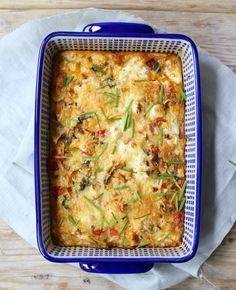 Frittata met roomkaas uit de oven   Flairathome.nl   frittata met ui, courgette, prei en paprika, maar je kunt ook kiezen voor andere groenten of een zakje voorgesneden groenten.
