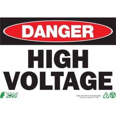 Zing Eco Safety Sign, Danger High Voltage, 10Hx14W, Recycled Polystyrene Self Adhesive, Multicolor