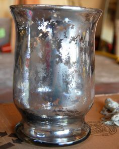 Take the Side Street: Faux Mercury Glass Tutorial  really good tutorial for spraying INSIDE the container
