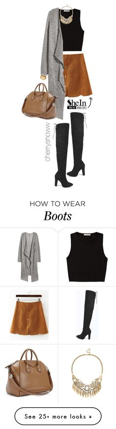 """""""Over the knee boots, suede skirt and long cardigan fall outfit"""" by cherrysnoww on Polyvore featuring Boohoo, Pieces, Sole Society, H&M, Givenchy and Michael Kors"""