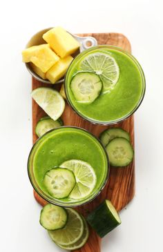REFRESHING, Healthy Creamy Cucumber Smoothie with Pineapple, Greens, lime and coconut!