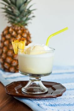 Pina Colada Float: Yields 1 serving (recipe can easily be doubled, tripled and so forth) Ingredients: 3 Tbsp coconut milk, 1 1/2 tsp granulated sugar, 1/8 tsp imitation coconut extract or flavor, 1/2 cup lemon lime flavored soda, such as Sprite, 1/2 cup pineapple sherbet.