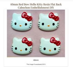 Hello Kitty Embellished Cabochon Custom Design 4 Ring or Pendant by evezbeadz - Jewelry on ArtFire, SOLD, THANK YOU