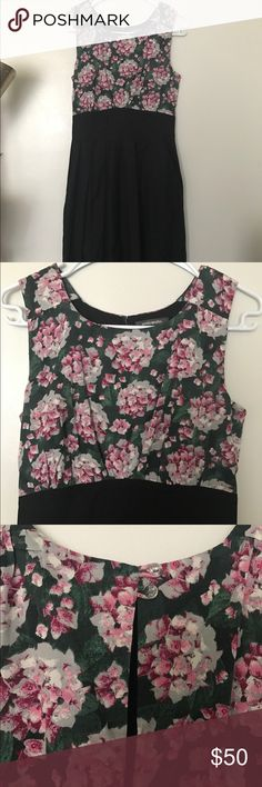 """Emily & Fin Midi Floral Dress M Mid length """"Polite Pairings"""" dress in perfect condition from Emily & Fin! Hydrangea print, box pleated black skirt with pockets, no lining but not see through. Cotton. Gorgeous. Bust 36, waist 28, length 42 emily & fin Dresses Midi"""