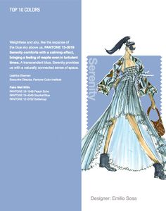 NYFW Pantone Color Report. Top 10 Colors - Serenity. Designer: Emilio Sosa