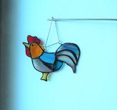Cockerel lover, Chicken art, stained glass decor, window Suncatcher wedding gifts, glass bird, best selling items, decorative wall hanging, by BelleVerreBon on Etsy