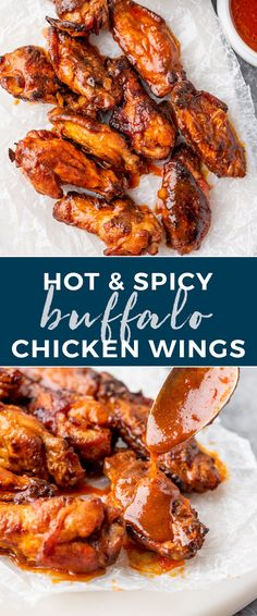 Hot and spicy buffalo wings are baked in the oven are ultra crispy on the outside and juicy on the inside. Easy Appetizer Recipes, Easy Dinner Recipes, Appetizers, Buffalo Recipe, Incredible Recipes, Chicken Wing Recipes, Thanksgiving Side Dishes, Buffalo Chicken, Side Dish Recipes