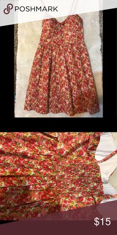 Jessica Simpson Sundress Floral sundress with pink, red, & orange flowers. Elastic gathering in the back. Jessica Simpson Dresses