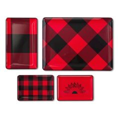 Adam Lippes for Target  Melamine Tray Set 4pc - Red Plaid, $25, Target.