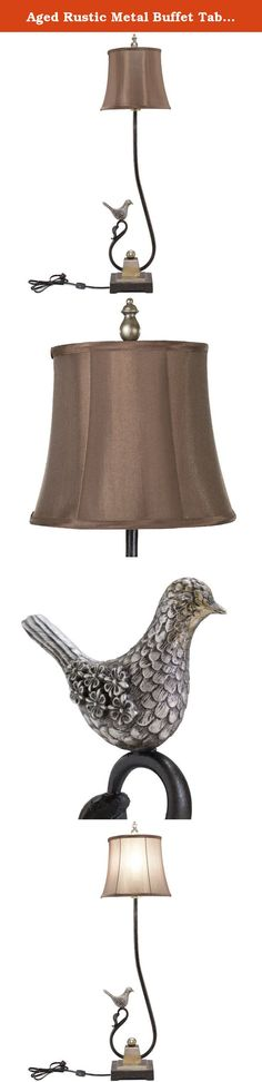 Aged Rustic Metal Buffet Table Lamp w/ Bird on Top of Curlicue Vine, Brown Round Bell Shade & Finial for Home or Office Decor. This metal & resin table lamp with the square bell clip corner shade will look exceptionally well with many home décor styles. Someone who appreciates birds and nature will adore this beautiful lamp that has a bird perched on top of a vine curlicue. You can place this lamp in any home or office to accent any style. This lamp has a metal rod which holds the lamp…