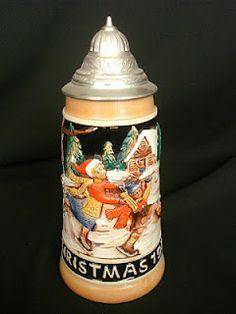 Lidded German Beer Stein Christmas 1977 Christmas In Germany, Old World Christmas, Christmas Wishes, German Beer Mug, German Beer Steins, Homemade Beer, Beer Mugs, How To Make Beer, Beer Brewing