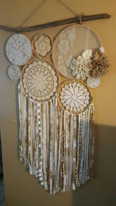 Items similar to Arzella Vintage Lace and Doily Wall Art on Etsy Dream Catcher Bedroom, Lace Dream Catchers, Dream Catcher Decor, Dream Catcher Supplies, Doily Art, White Wall Clocks, Macrame Design, Crochet Pillow, Etsy Crafts