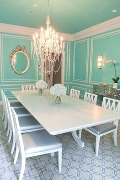 The Tiffany Suite at The St. Regis...Inspired by the iconic Tiffany blue box, the 10 seat dining room boasts Tiffany china, barware, and silverware.