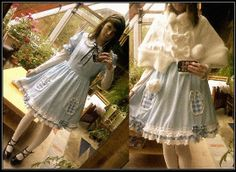 Bodyline Blue Doll Dress, Jennyfer Black Pumps, Douceur De Vivre White Lolita Cape - Alice Lolita - BN-Chan /