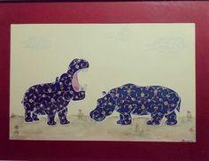 Nursun K. Hippopotamus... Özgür Hayvanlar Serisi... Toz altın ve guaj boya...