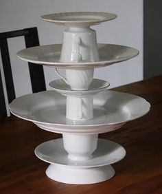 Tea cups and plates ... for your own DIY cupcake stand FROM: Adventures In Creating: Anthropologie Inspired Cupcake Stand