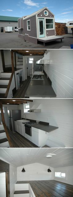 A custom tiny house with a 5-foot slide out closet and 32 sq.ft. fold down porch. Inside is a bedroom loft with dormers accessed by storage stairs.