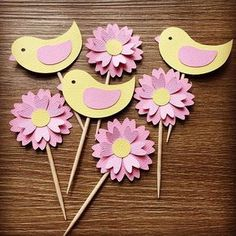 This Pin was discovered by Cha Kids Crafts, Diy And Crafts, Arts And Crafts, Paper Crafts, Bird Party, Bird Theme, Birthday Decorations, Cupcake Toppers, Paper Flowers