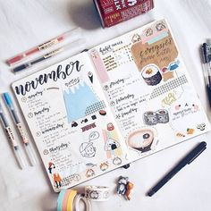 Bullet journal layout ideas and bullet journal inspiration, bullet journal doodles, bullet journal covers Bullet Journal Planner, How To Bullet Journal, Bullet Journal Travel, Bullet Journal Spread, Bullet Journal Layout, Bullet Journal Inspiration, Journal Pages, Journal Covers, Journal Ideas