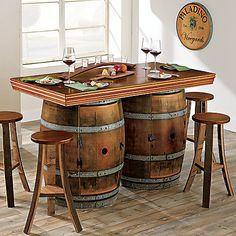 Buy the Vintage Oak Wine Barrel Bistro Table & Bar Stools (Whiskey Finish) at Wine Enthusiast – we are your ultimate destination for wine storage, wine accessories, gifts and more! Whiskey Barrel Table, Wine Barrel Table, Wine Barrel Furniture, Wine Barrels, Wine Table, Barrel Sink, Barris, Barrel Projects, Oak Trim