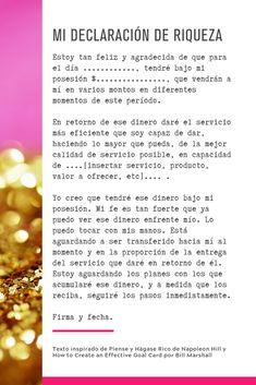 Mi declaracíón de Riqueza inspirada en Piense y Hágase Rico de Napoleon Hill #pienseyhagaserico #napoleonhill #declaracon #riqueza #abundancia #dinero Blogging, Positive Vibes, Karma, Prayers, Mindfulness, Inspirational Quotes, Marketing, Positivity, Learning