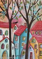 Red Roofs 5x7inch ORIGINAL Canvas Panel PAINTING FOLK ART Primitive Karla G