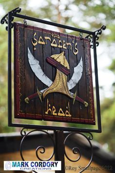 Tavern sign made for Mythlore LARP by a placement student working at Mark Cordory Creations (photo courtesy and © Roy Smallpage)