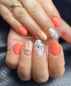 40 Awesome Flower Nail Art Designs In Spring – Page 5 Fancy Nails, Cute Nails, Pretty Nails, Watermelon Nail Art, Frozen Nails, Uñas Fashion, Diva Nails, Floral Nail Art, Finger