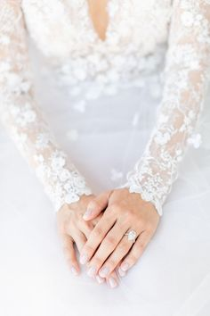 stunning, ethereal gown by Oscar de la Renta with delicate blossom detail throughout the bodice and sleeves Magical Wedding, Whimsical Wedding, Glamorous Wedding, Dream Wedding, Garden Wedding, Bridesmaid Dress Styles, Brides And Bridesmaids, Wedding Images, Wedding Styles