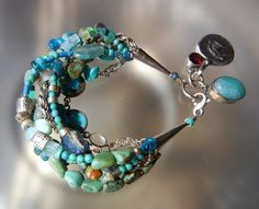 Multi Strand Turquoise Sterling Silver Bracelet with Ancient Roman Coin - Upcycled Boho Jewelry