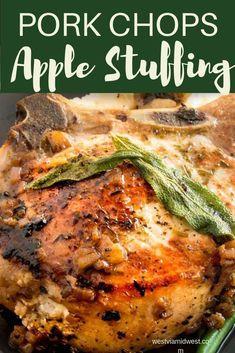 Oven Pork Chops, Apple Pork Chops, Baked Pork Chops, Apple Stuffed Pork Chops, Easy Pork Chop Recipes, Pork Recipes, Cooking Recipes, Catering Recipes, Dinner Party Recipes