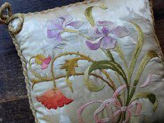 Antique Art Nouveau Silk Flower Embroidery by GliciniaANTIC