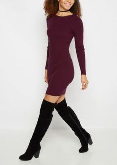Show off your killer curves in this slinky rib knit midi dress! It's fashioned with a captivating figure-hugging cut and a metallic half-zip down the back. Rock it with daring heels or keep it casual with booties.