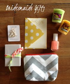 Bridesmaids gift idea: chevron cosmetic bag, earrings, nail polish, candles and a thank you note.