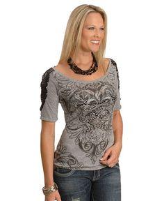 Cowgirls & Diamonds Sequin Shoulder Print Tee