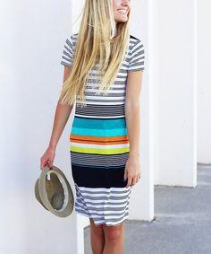 So Perla Black & White Stripe Short-Sleeve Dress   zulily