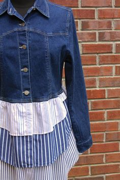 Denim & Shirting Stripe Duster Jacket  Upcycled by UpTickChic