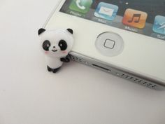 SALE 80-20%OFF: Cute Panda iPhone 5  Plug . Phone Charm . Phone Plug . Dust Plug - Hand Painted, Cat, Kawaii, Girly
