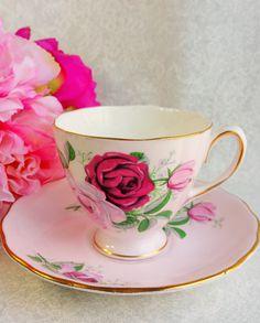 COLCLOUGH Pale Pink Bone China Tea Cup and by HoneyandBumble