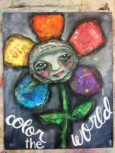 Mixed Media / Collage Canvas / Art Journal    Color the World