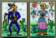 Cute skeletons painted reverse glass from Peru