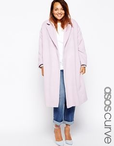 Plus Size ASOS CURVE Coat In Relaxed Fit - Lilac