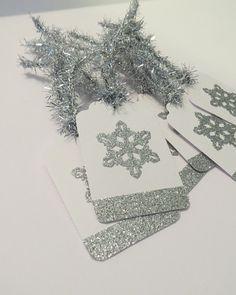 handmade Christmas gift tags - silver snowflake tags - set of 6